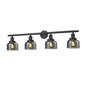 Large Bell Oiled Rubbed Bronze Four-Light Bath Vanity with Smoked Dome Glass