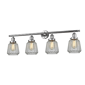 Chatham Polished Chrome Four-Light Bath Vanity with Clear Fluted Novelty Glass