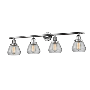 Fulton Polished Chrome Four-Light Bath Vanity with Clear Sphere Glass