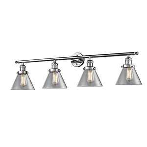 Large Cone Polished Chrome Four-Light LED Bath Vanity with Clear Cone Glass