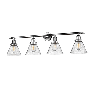 Large Cone Polished Chrome Four-Light LED Bath Vanity with Seedy Cone Glass