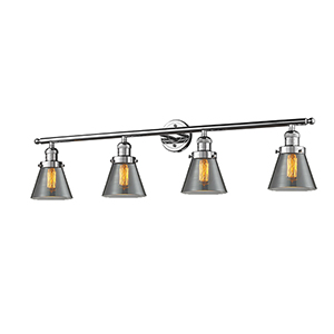 Small Cone Polished Chrome Four-Light LED Bath Vanity with Smoked Cone Glass