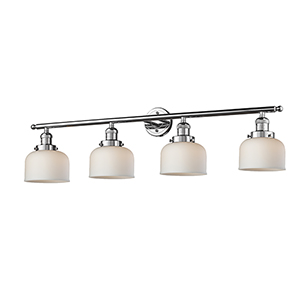 Large Bell Polished Chrome Four-Light Bath Vanity with Matte White Cased Dome Glass