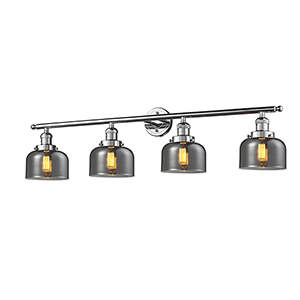 Large Bell Polished Chrome Four-Light LED Bath Vanity with Smoked Dome Glass