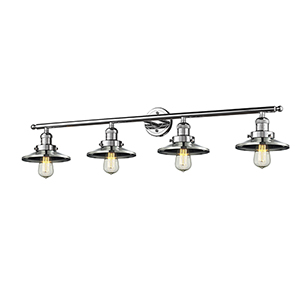Railroad Polished Chrome Four-Light Bath Vanity