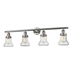 Bellmont Polished Nickel Four-Light LED Bath Vanity with Seedy Hourglass Glass