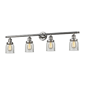 Small Bell Polished Nickel Four-Light Bath Vanity with Clear Bell Glass