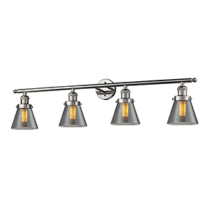 Small Cone Polished Nickel Four-Light LED Bath Vanity with Smoked Cone Glass