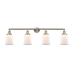 Franklin Restoration Brushed Satin Nickel 11-Inch Four-Light Bath Vanity with Matte White Canton Shade