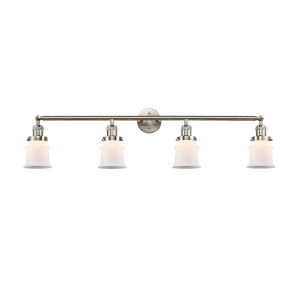 Franklin Restoration Brushed Satin Nickel 11-Inch Four-Light LED Bath Vanity with Matte White Small Canton Shade