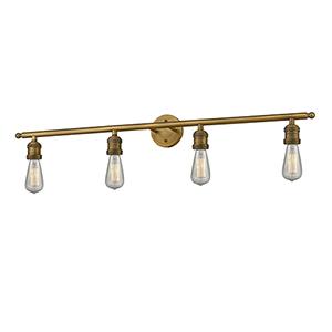 Bare Bulb Brushed Brass Four-Light Reversible Bath Vanity