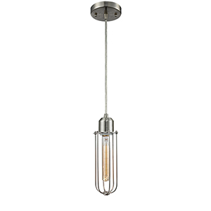 Muselet Brushed Satin Nickel Four-Inch One-Light Mini Pendant