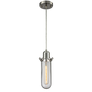 Centri Brushed Satin Nickel One-Light Mini Pendant with Clear Globe Glass