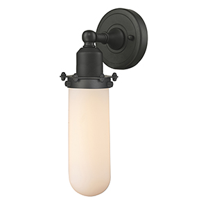 Centri Oiled Rubbed Bronze 13-Inch One-Light Wall Sconce with Matte White Cased Globe Glass