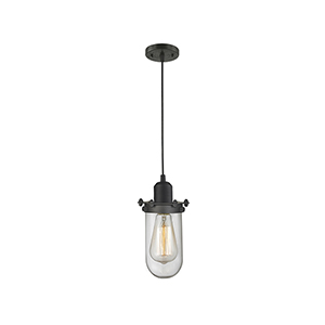 Centri Oiled Rubbed Bronze Five-Inch One-Light Mini Pendant with Clear Globe Glass