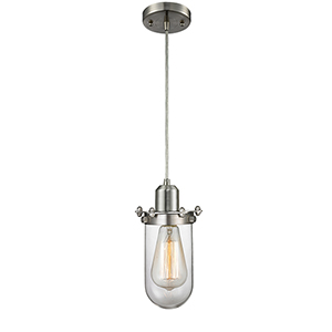 Centri Brushed Satin Nickel LED Mini Pendant with Clear Glass