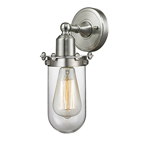 Centri Brushed Satin Nickel LED Wall Sconce with Clear Globe Glass