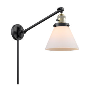 Large Cone Black Antique Brass One-Light Swing Arm Wall Sconce with Matte White Cased Glass