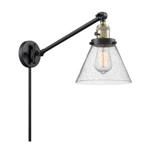 Large Cone Black Antique Brass One-Light Swing Arm Wall Sconce