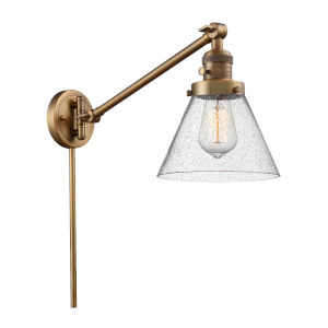 Large Cone Brushed Brass One-Light Swing Arm Wall Sconce