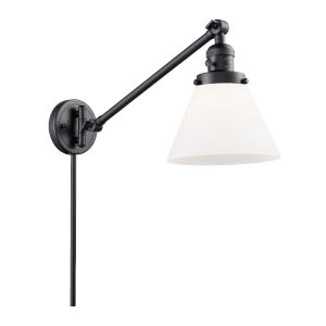 Large Cone Matte Black One-Light Swing Arm Wall Sconce with Matte White Cased Glass