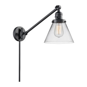 Large Cone Matte Black One-Light Swing Arm Wall Sconce with Clear Glass