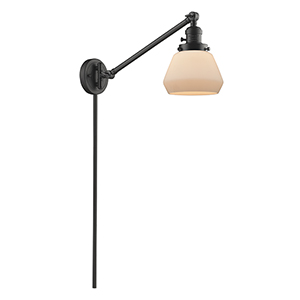Fulton Oiled Rubbed Bronze 25-Inch LED Swing Arm Wall Sconce with Matte White Cased Sphere Glass