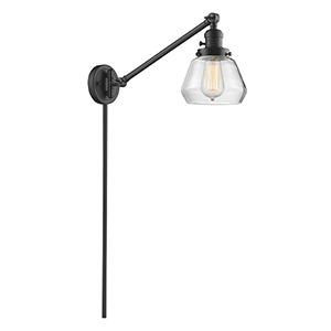 Fulton Oiled Rubbed Bronze 25-Inch One-Light Swing Arm Wall Sconce with Clear Sphere Glass