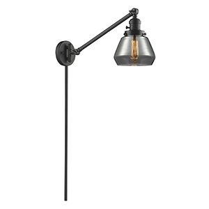 Fulton Oiled Rubbed Bronze 25-Inch One-Light Swing Arm Wall Sconce with Smoked Sphere Glass