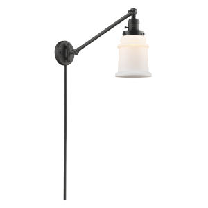 Franklin Restoration Oil Rubbed Bronze Eight-Inch One-Light Swing Arm Wall Sconce with Matte White Canton Shade and Molded