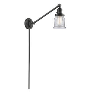Franklin Restoration Oil Rubbed Bronze 25-Inch One-Light Swing Arm Wall Sconce with Small Clear Canton Shade and Molded Plug