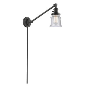 Franklin Restoration Oil Rubbed Bronze 25-Inch One-Light Swing Arm Wall Sconce with Small Seedy Canton Shade and Molded Plug