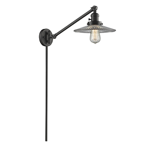 Halophane Oiled Rubbed Bronze 25-Inch One-Light Swing Arm Wall Sconce with Halophane Cone Glass