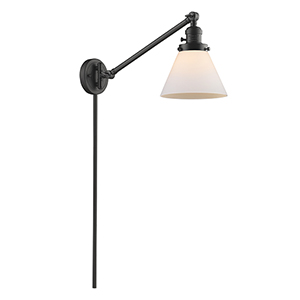 Large Cone Oiled Rubbed Bronze 25-Inch LED Swing Arm Wall Sconce with Matte White Cased Cone Glass