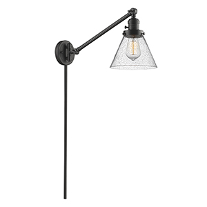 Large Cone Oiled Rubbed Bronze 25-Inch One-Light Swing Arm Wall Sconce with Seedy Cone Glass