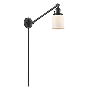 Small Bell Oiled Rubbed Bronze 25-Inch One-Light Swing Arm Wall Sconce with Matte White Cased Bell Glass