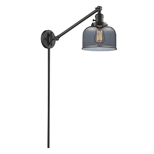 Large Bell Oiled Rubbed Bronze 25-Inch One-Light Swing Arm Wall Sconce with Smoked Dome Glass