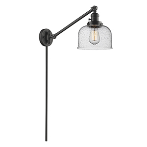 Large Bell Oiled Rubbed Bronze 25-Inch One-Light Swing Arm Wall Sconce with Seedy Dome Glass