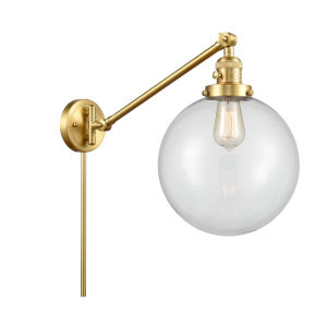 Franklin Restoration Satin Gold 10-Inch One-Light Swing Arm Wall Sconce with Clear Glass Shade