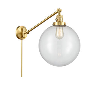 Franklin Restoration Satin Gold 12-Inch One-Light Swing Arm Wall Sconce with Clear Glass Shade