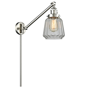 Chatham Brushed Satin Nickel 25-Inch One-Light Swing Arm Wall Sconce with Clear Fluted Novelty Glass