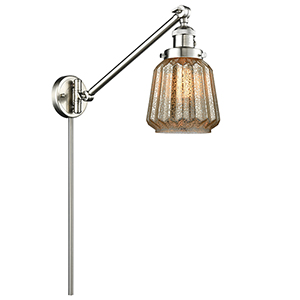 Chatham Brushed Satin Nickel 25-Inch LED Swing Arm Wall Sconce with Mercury Fluted Novelty Glass