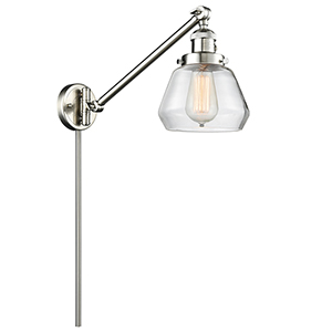 Fulton Brushed Satin Nickel 25-Inch LED Swing Arm Wall Sconce with Clear Sphere Glass