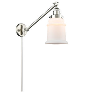Franklin Restoration Brushed Satin Nickel Eight-Inch One-Light Swing Arm Wall Sconce with Matte White Canton Shade and Molded