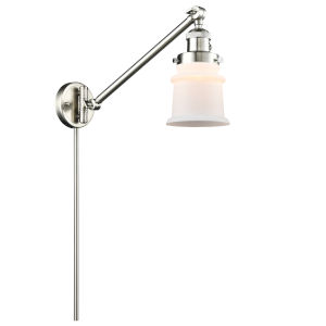 Franklin Restoration Brushed Satin Nickel Eight-Inch One-Light Swing Arm Wall Sconce with Small Matte White Canton Shade and