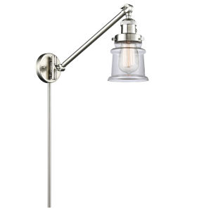 Franklin Restoration Brushed Satin Nickel 25-Inch One-Light Swing Arm Wall Sconce with Small Clear Canton Shade and Molded