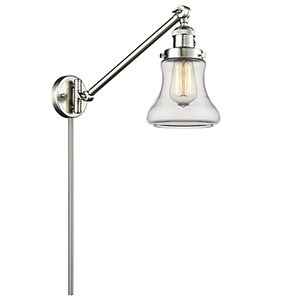 Bellmont Brushed Satin Nickel 25-Inch One-Light Swing Arm Wall Sconce with Clear Hourglass Glass