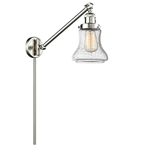 Bellmont Brushed Satin Nickel 25-Inch One-Light Swing Arm Wall Sconce with Seedy Hourglass Glass
