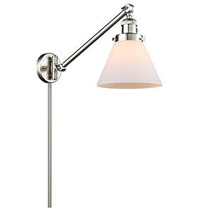 Large Cone Brushed Satin Nickel 25-Inch LED Swing Arm Wall Sconce with Matte White Cased Cone Glass