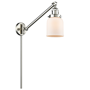 Small Bell Brushed Satin Nickel LED Swing Arm Wall Sconce with Matte White Cased Bell Glass
